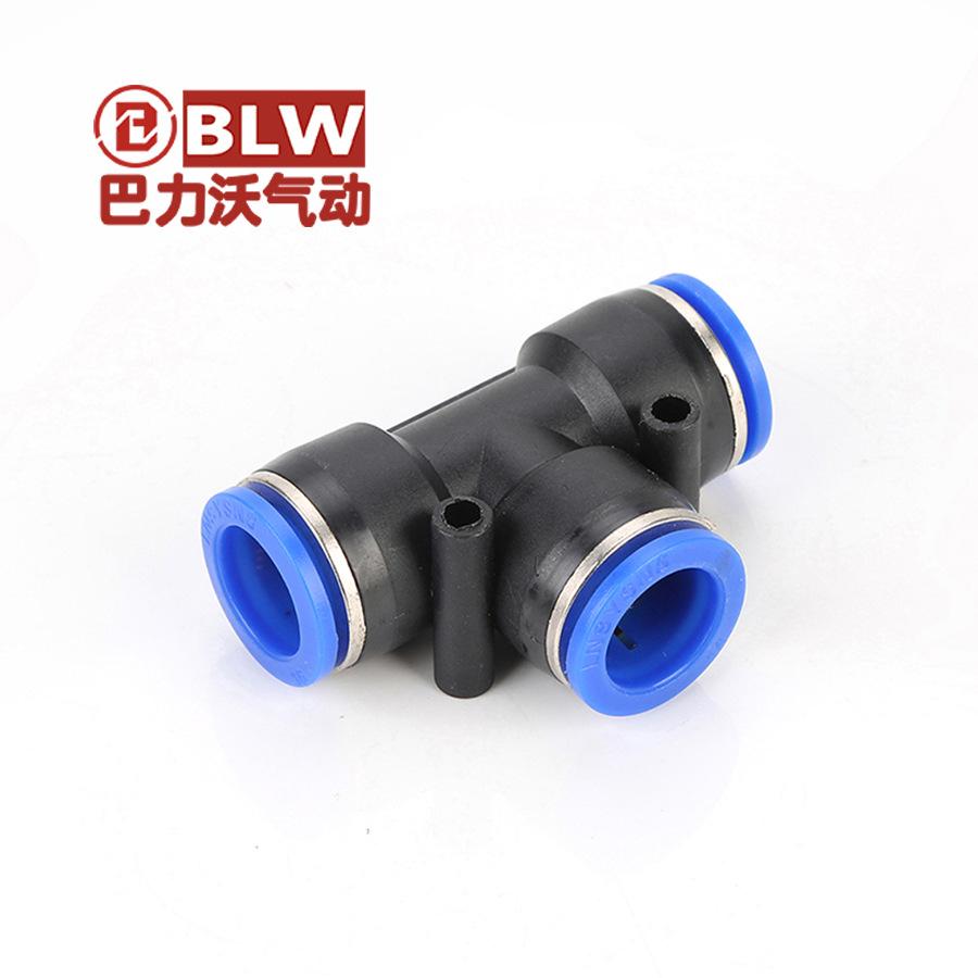 Linh kiện khí nén Đầu nối nhanh ba chiều loại T bằng nhựa chèn nhanh PE-8 10 12 16 đầu nối máy nén k
