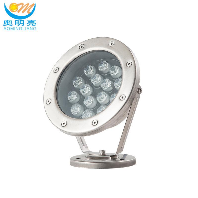 AOMINGLIANG Đèn LED âm nước Đèn led dưới nước 36W 24W Đèn tròn hồ bơi inox tròn 12W 9W 9W 6W