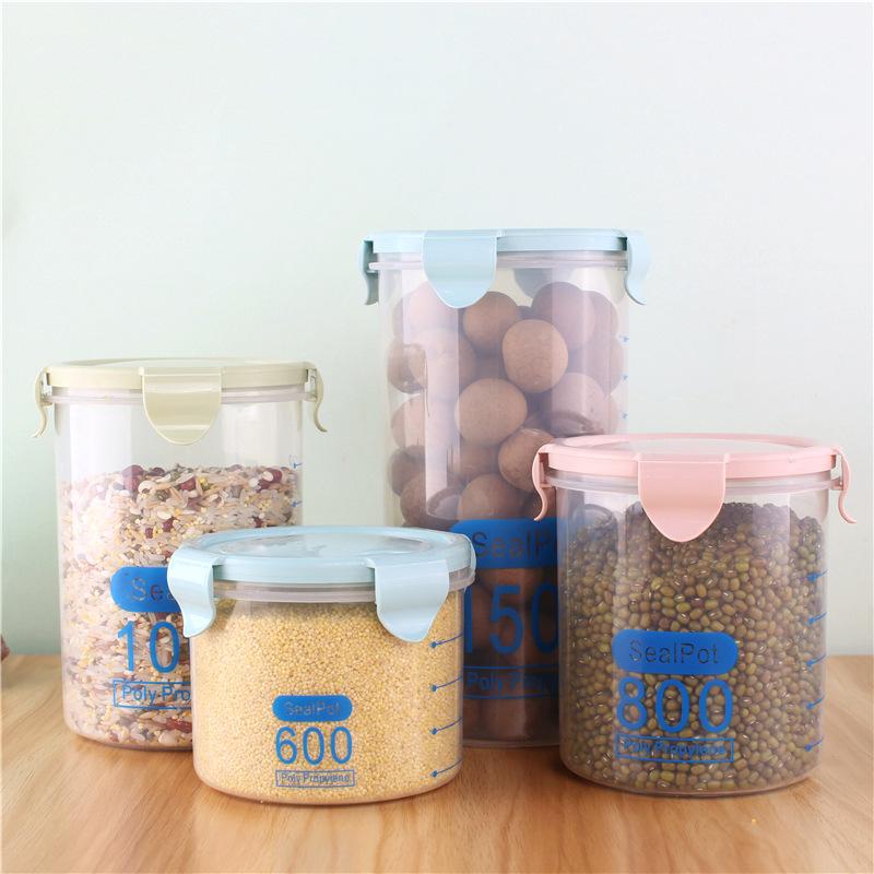 Hũ nhựa Thực phẩm bằng nhựa trong suốt niêm phong lon Ngũ cốc và hộp lưu trữ thực phẩm Có nắp hộp lư