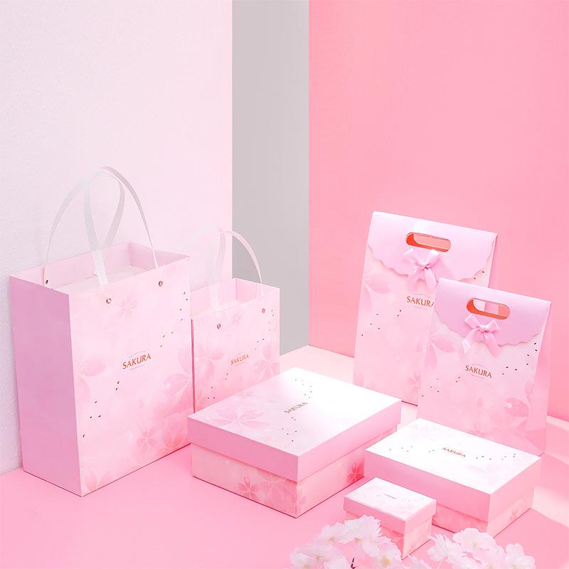 OUMU Hộp quà tặng Hoa anh đào màu hồng hộp quà hình chữ nhật cao cấp thế giới bao gồm hộp quà tặng s
