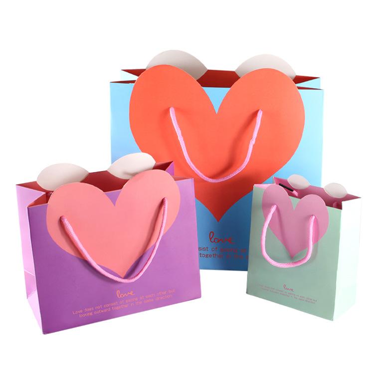 LEILEI Túi giấy Tại chỗ Bán buôn Túi quà tặng Túi quà tặng Hình trái tim Túi quà tặng Túi tote Túi g