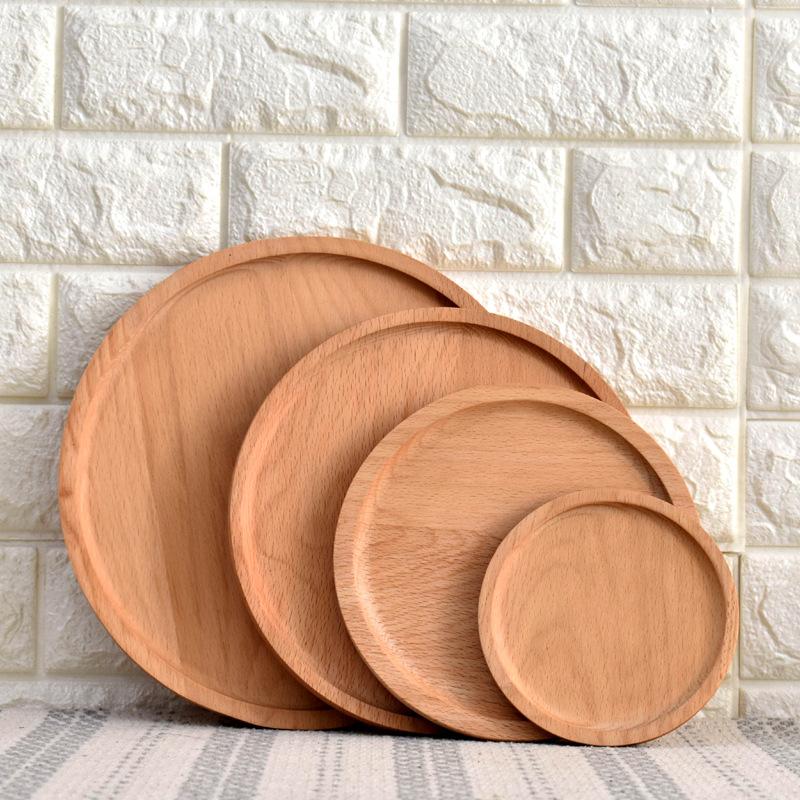 CHAUNGTAI Mâm nhựa / Pallet nhựa [Spot] khay trái cây bằng gỗ tròn Nhật Bản