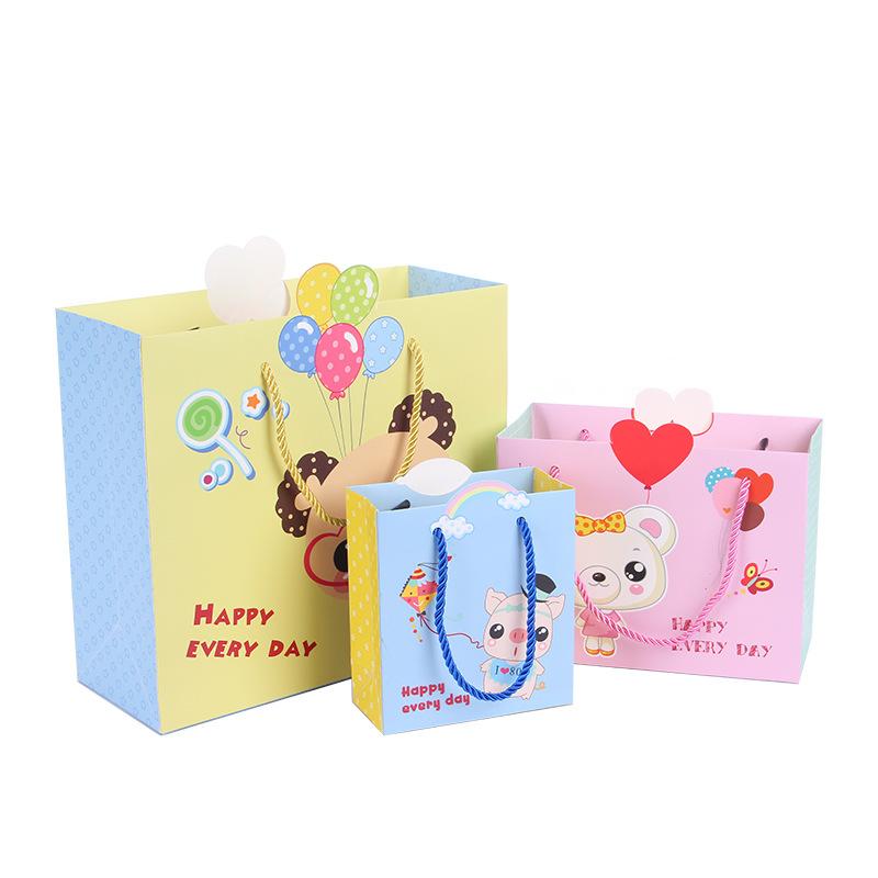 LEILEI Túi giấy Túi quà tặng ngày của trẻ em Túi quà tặng sinh nhật Túi tote Túi giấy Túi hoạt hình