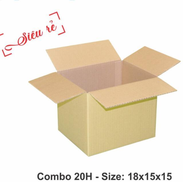 Thùng giấy Combo 20 Hộp Carton 18x15x15 - Thùng Giấy Carton Giá Rẻ