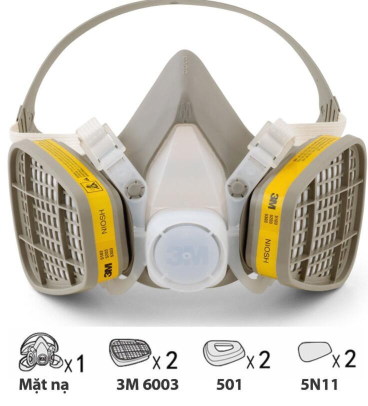 Mặt nạ phòng chống khí độc Mặt Nạ Phòng Độc 3M 6100 + Phin Lọc 6003 + Đầy Dủ Phụ Kiện - Phun Thuốc S