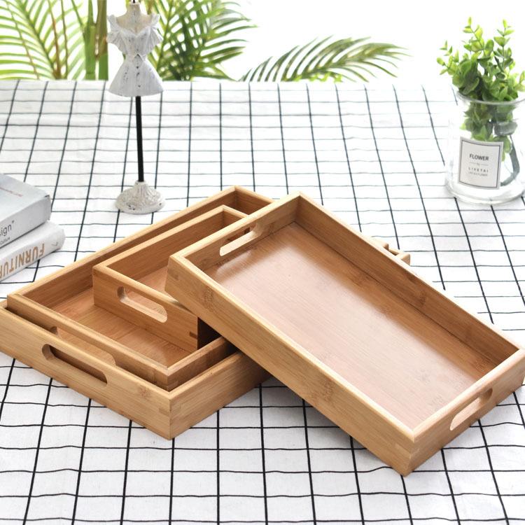 XUNWEI Mâm nhựa / Pallet nhựa Khay tre gỗ Khay trà tre hình chữ nhật Chén trà Hộ gia đình Nhật Bản K