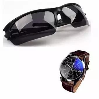 Kính bảo hộ Kính mát nam phân cực (Đen) + Tặng Đồng hồ nam thời trang (Nâu)