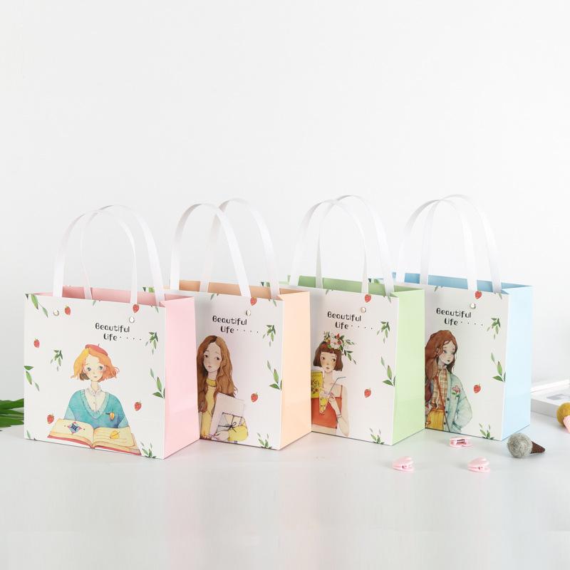 KONGLE Túi giấy đựng quà Mới giấy túi tùy chỉnh sáng tạo đinh tán mua sắm túi thời trang phim hoạt h