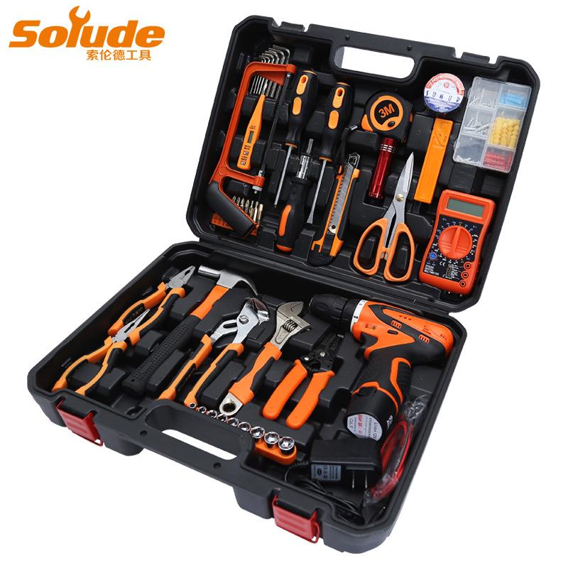 SOLUDE Thị trường công cụ Công cụ phần cứng gia đình chính hãng Solende khoan đặt bộ sửa chữa thợ đi