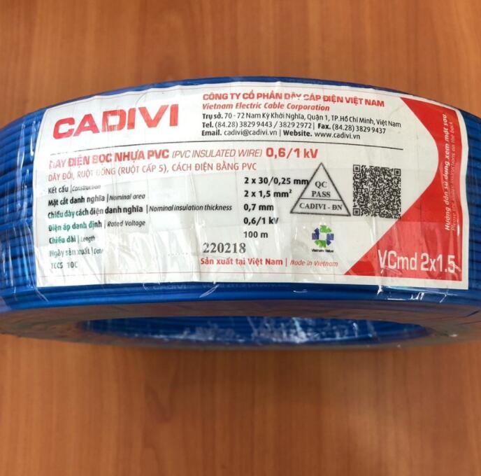 dây điện 5 Mét Dây Điện Đôi Mềm CADIVI - Vcmd 2x1.5 (2x30/0.25mm) 100% Đồng