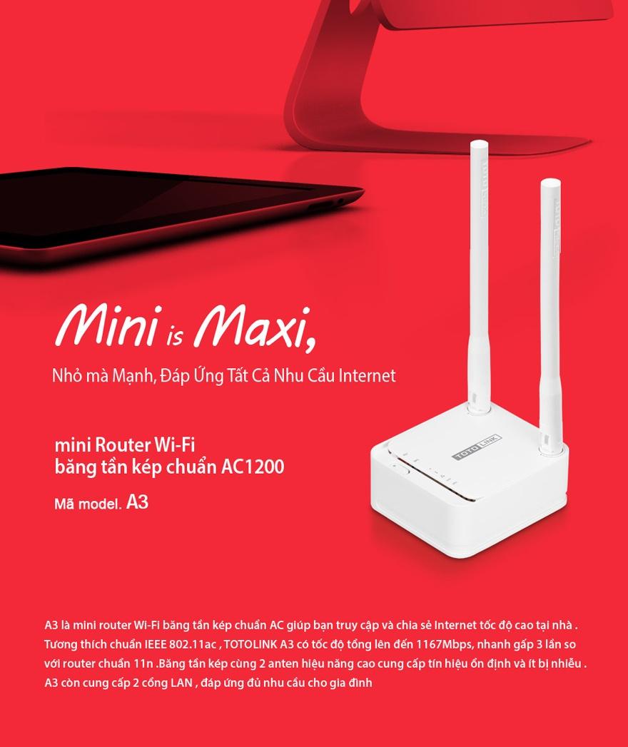 TOTOLINK Modom Mini Router Wi-Fi băng tần kép chuẩn AC1200 – A3 - TOTOLINK