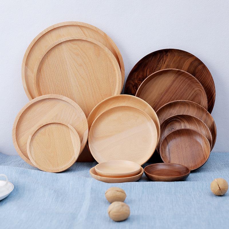 LONGWEI Mâm nhựa / Pallet nhựa Elm đĩa ăn tối trẻ em tròn Nhật Bản đĩa nhà bánh mì khay trà thực bé