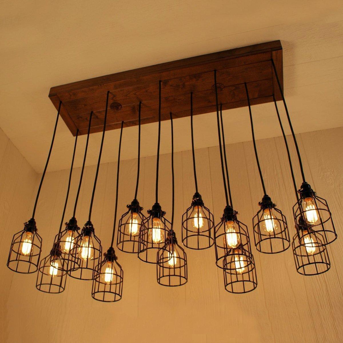 HENGTU Máng chụp đèn Vintage rèn sắt chụp đèn nhỏ chim lồng đèn chùm tường đèn chụp đèn Edison cổ ph