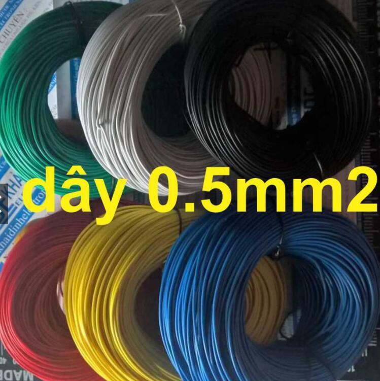 dây Điện Đơn RV 0,5mm (Cuộn 10m) Có 6 Màu Đỏ/Đen/Lục/Trắng/Dương/Vàng Kde1679