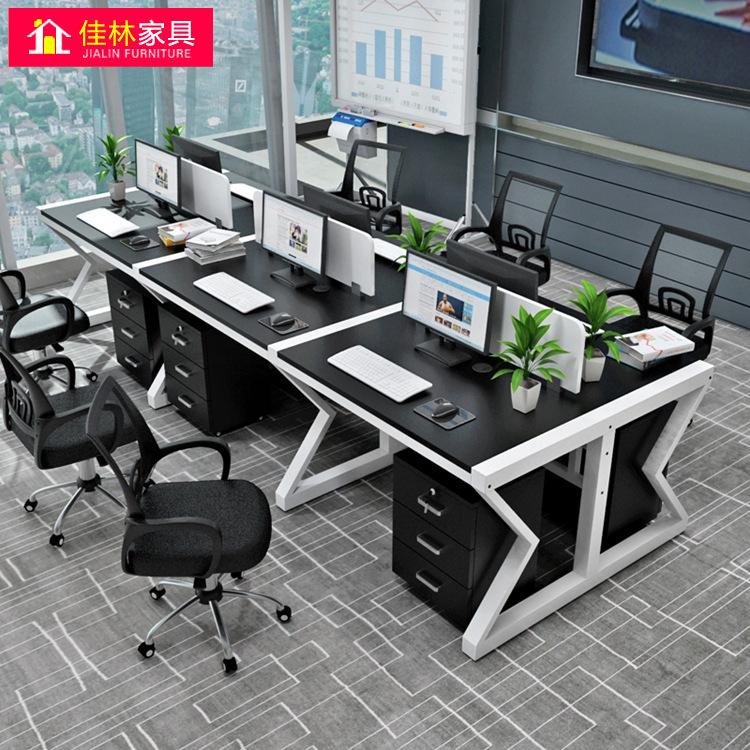 Thị trường nội thất văn phòng Cung cấp ghế văn phòng đơn giản hiện đại bàn nhân viên 4/6 người màn h