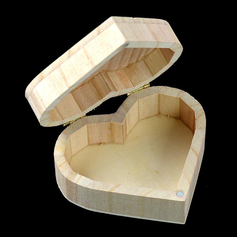 Stree Hộp gỗ hình trái tim Hộp gỗ cổ điển rắn đóng gói tình yêu Hộp gỗ Hộp lưu trữ hoàn thiện Thủ cô