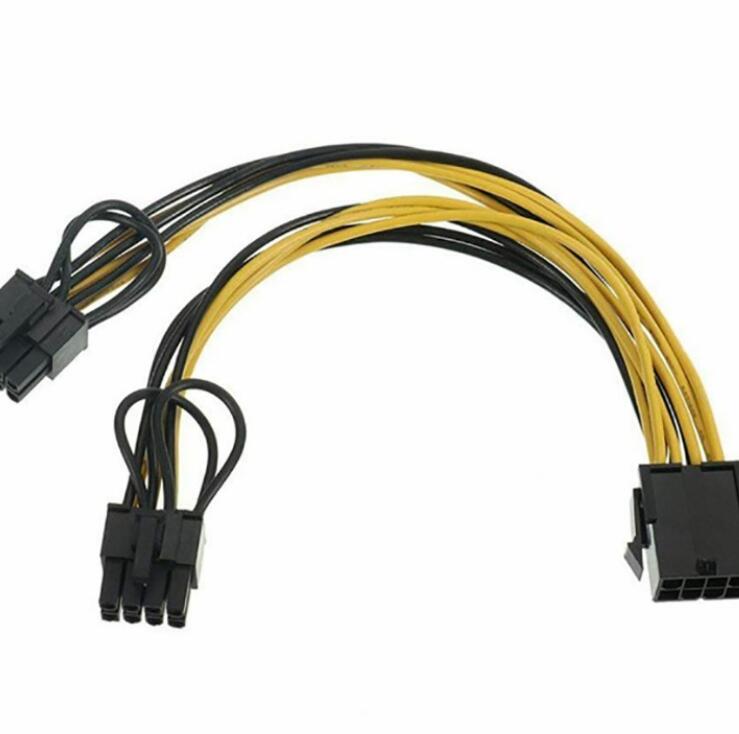 Dây Nguồn PCI-E VGA Card - 8PIN CPU Female Ra 2 Đầu 6/8PIN (6+2) Male 20Cm