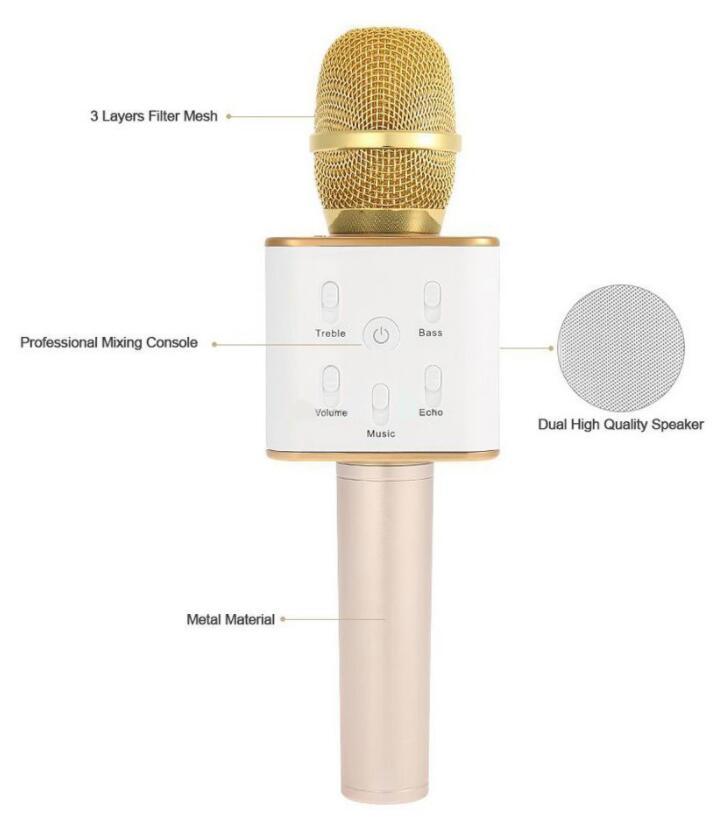Micro Karaoke Tích Hợp Loa Bluetooth Q7 Tặng Kèm Cốc Sạc 3 Cổng USB