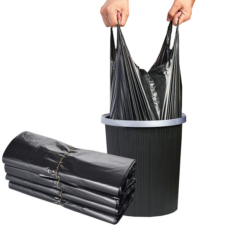JIURUI Túi xốp 2 quai Vest loại túi rác màu đen hộ gia đình dày dùng một lần túi rác xách tay túi nh