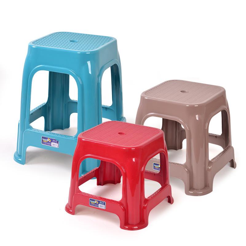 HUINA Đồ dùng gia dụng Ghế màu kẹo đơn giản hàng ngày Ghế đẩu nhựa màu xanh lá cây Chống dày để giảm