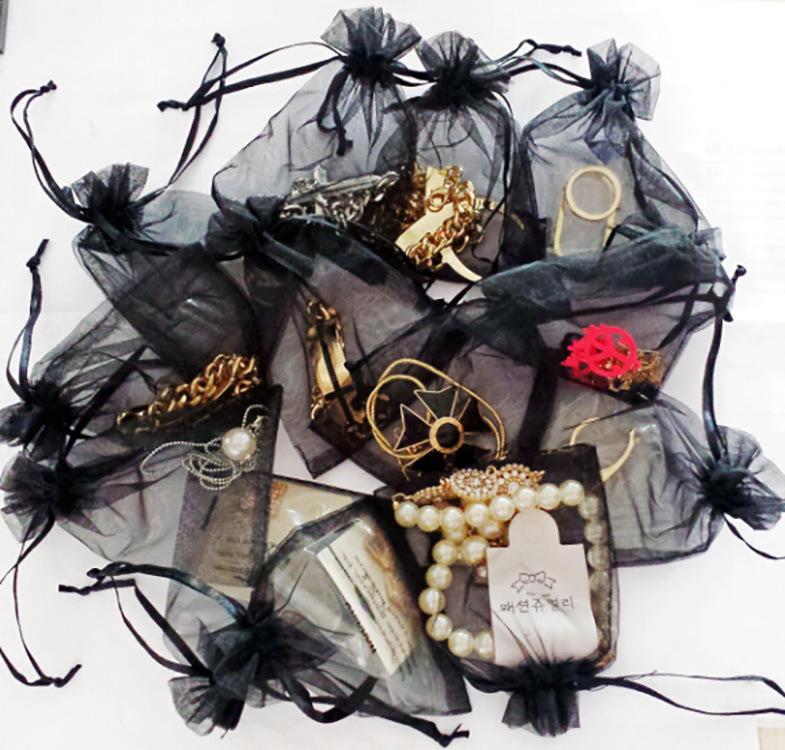 XUANRAN Túi đựng trang sức Màu đen rắn màu trang sức trang sức túi bó sợi túi quà tặng túi kẹo cưới