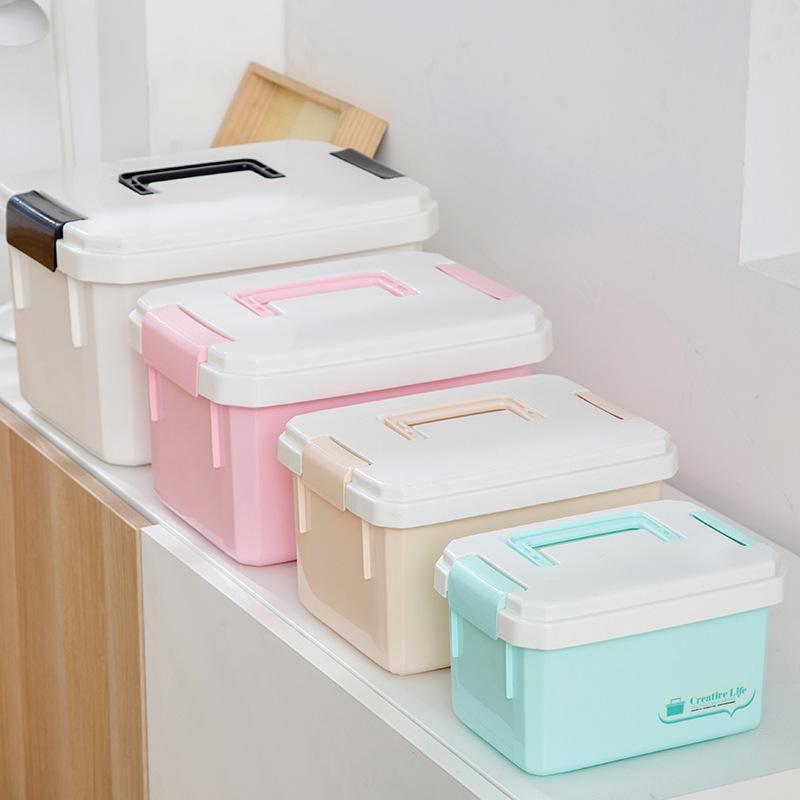 QUNRONG Thùng nhựa Nhà máy trực tiếp lưu trữ đồ chơi hộp nhựa nhỏ di động mỹ phẩm lưu trữ hộp màu ho