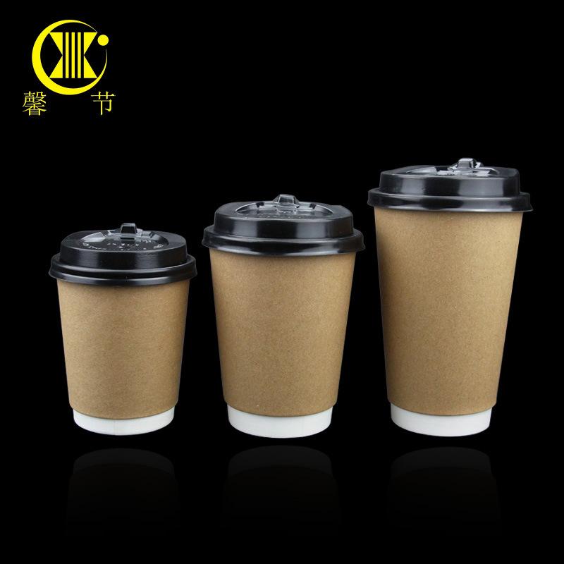 XINJIE Ly giấy 8/12 / 16A Cốc giấy dày dùng một lần Giấy kraft gấp đôi cách ly trà sữa tách cà phê C