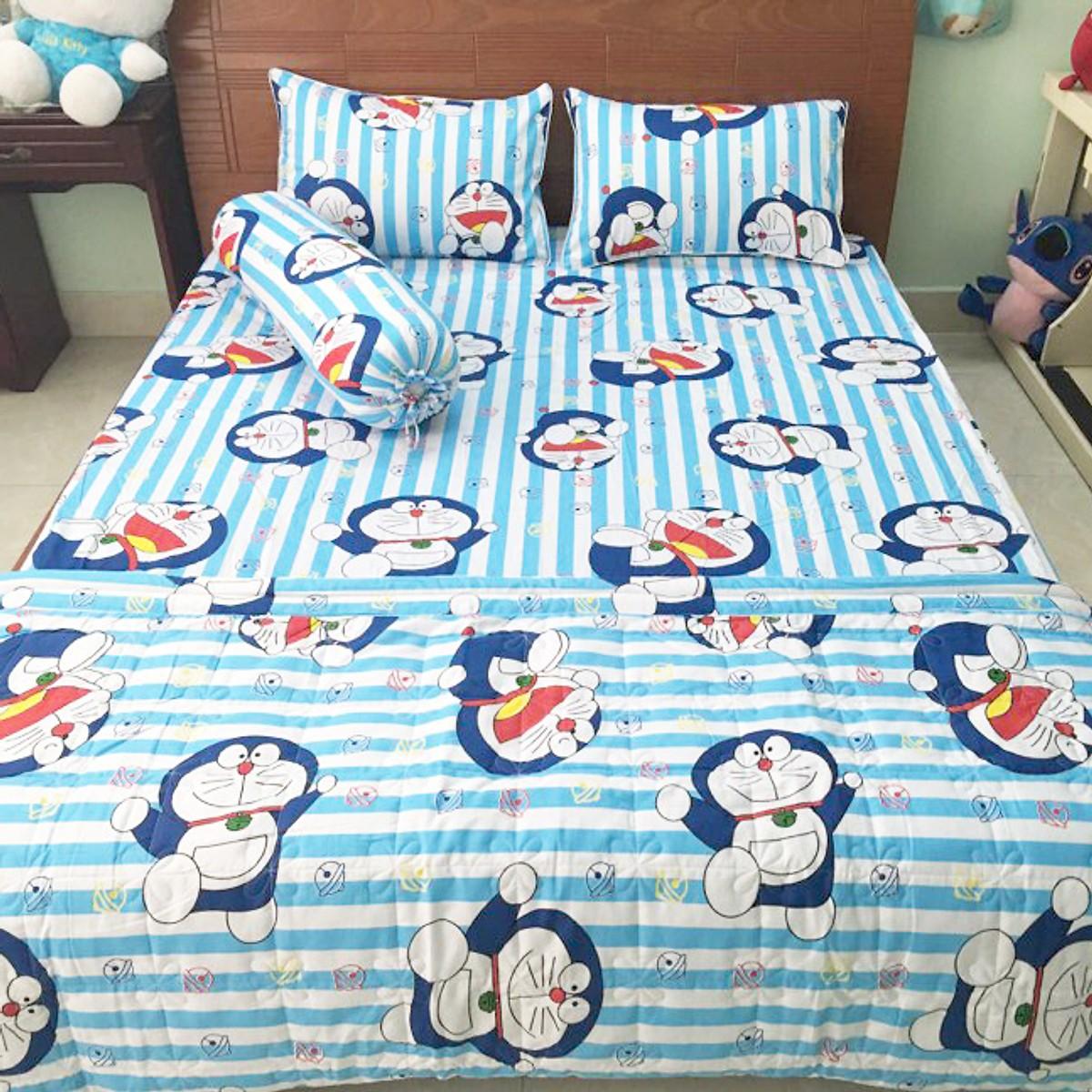 Bộ drap giường cotton - bộ 4 món ( 1drap + 2 vỏ nằm +1 vỏ ôm + 1 chăn chần)