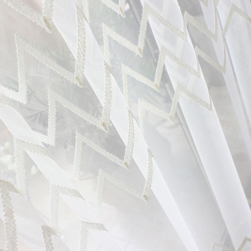 CHUNZHIFEI Vải thêu Phong cách Bắc Âu màn hình thêu đơn giản vải rèm hình học với sợi