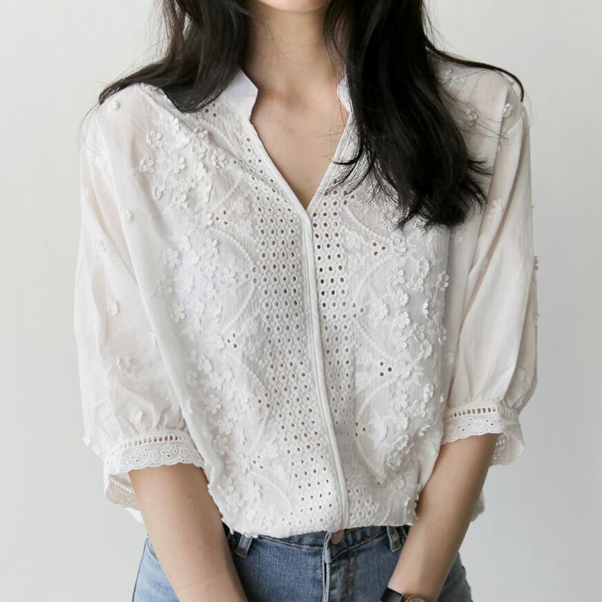 Áo sơ mi Hàn Quốc Dongdaemun 2018 áo sơ mi nữ mới giản dị thêu áo sơ mi nữ tay ngắn