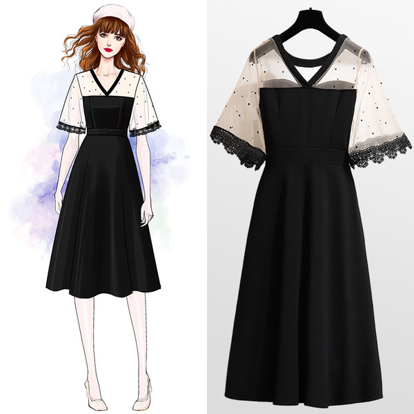 Đầm Mùa hè 2019 phiên bản mới của Hàn Quốc cỡ lớn mm200 béo mặc máy cẩn thận váy Pháp