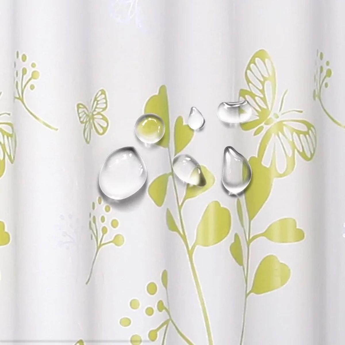 Rèm Phòng Tắm / Rèm Cửa Sổ Trằng Họa Tiết Hoa Xanh Lá 180cm X 180cm Loại 1