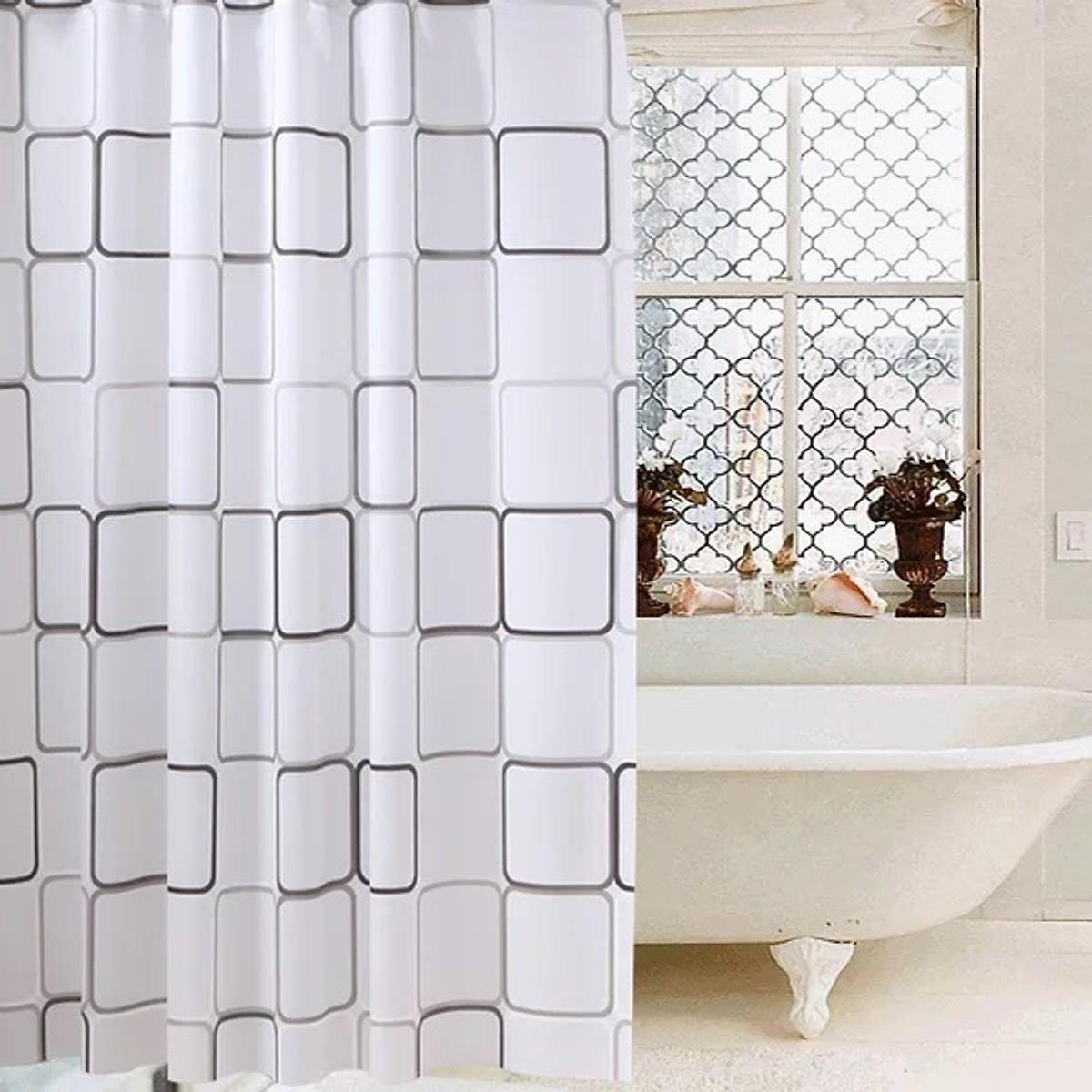 Rèm Phòng Tắm / Rèm Cửa Sổ Trắng Ô Vuông Đen lớn 180cm X 180cm Loại 1
