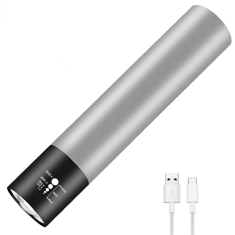 RUIJIN Đèn điện, đèn sạc Nhà máy trực tiếp USB tích hợp pin mini đèn pin nhôm cưỡi ngoài trời LED đè