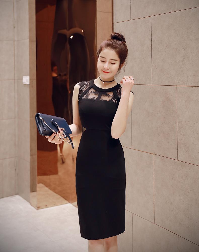 ZY·HT Đầm Mùa hè 2019 phong cách mới quý cô gợi cảm vòng cổ cao eo thon đã mỏng cao tay áo ngắn dài