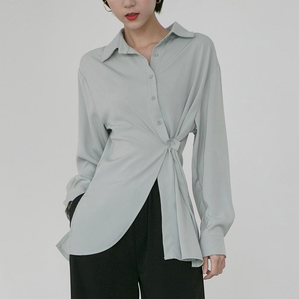 Missweet Áo sơ mi 2019 Hàn Quốc Dongdaemun Xuân hè mới đơn giản màu đơn sắc áo ngực dài không đều nữ