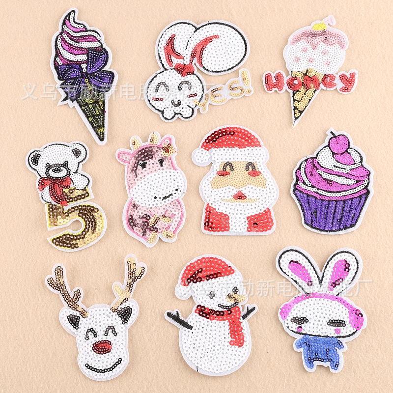 Lixin phù hiệu vải Lixin miếng dán vải mới Snowman kem đầu động vật sequin Santa patch sticker phụ k