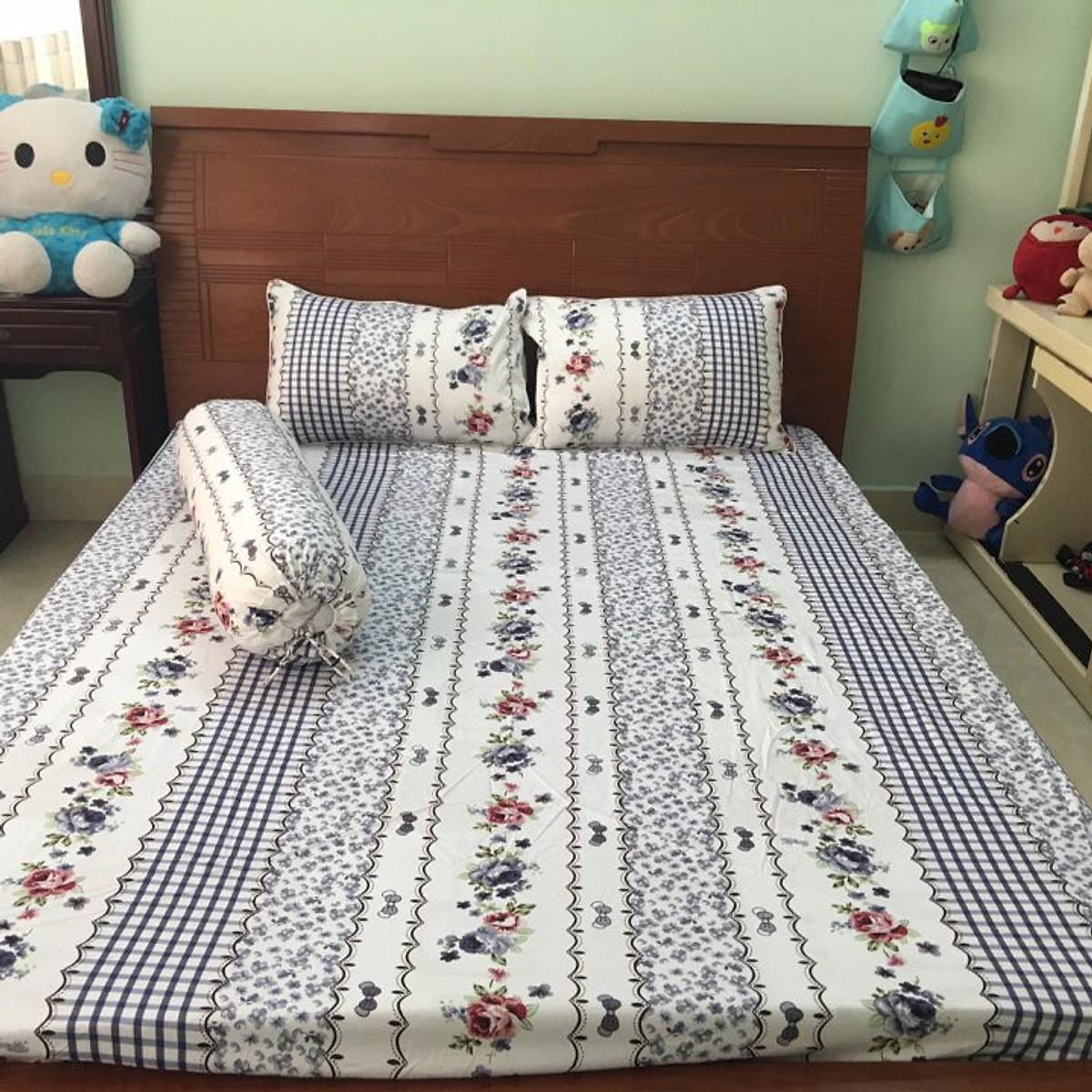Bộ drap giường cotton cao cấp - bộ 4 món ( 1drap + 2 vỏ nằm +1 vỏ ôm + 1 chăn chần)