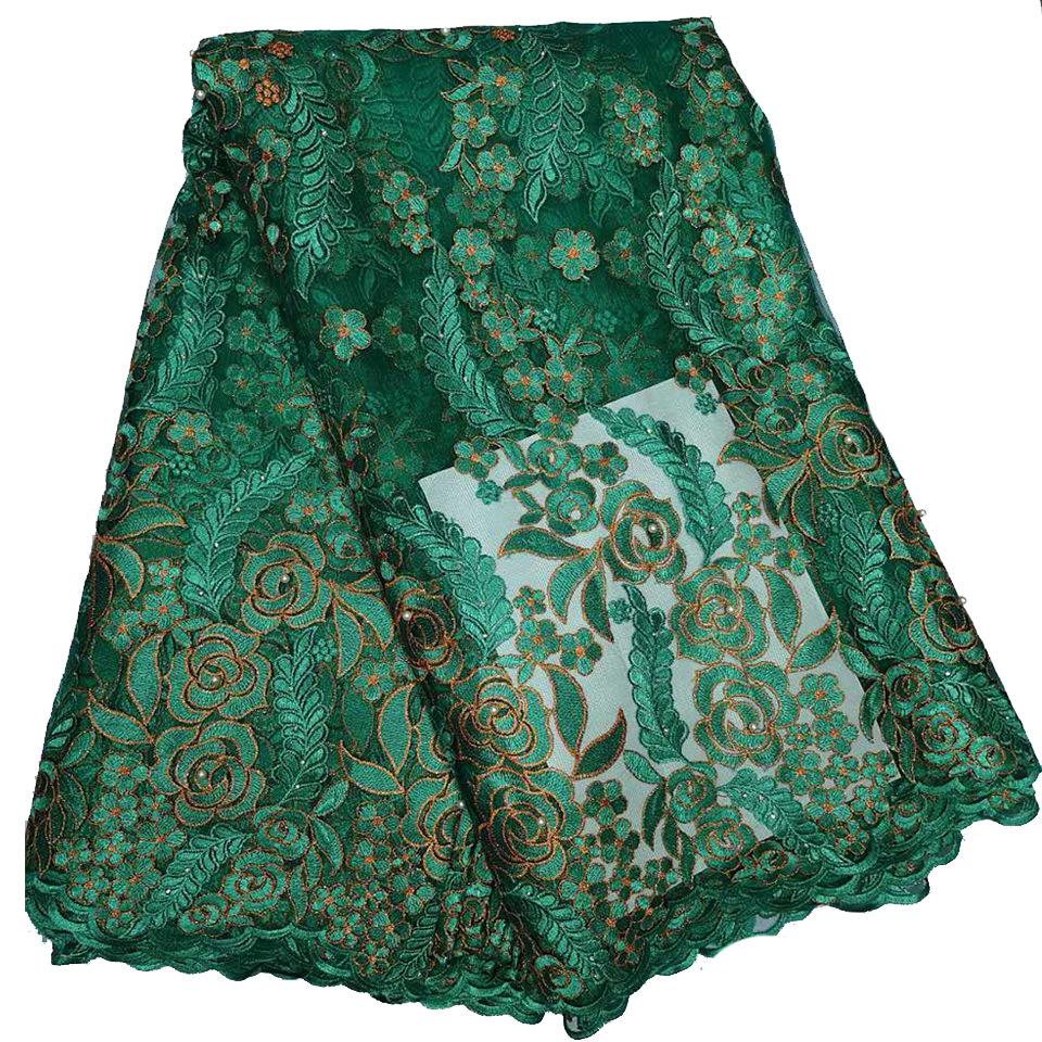 Eason Vải thêu Thêu đính cườm kim cương nóng Châu Phi ren thêu vải áo cưới vải ren châu Phi
