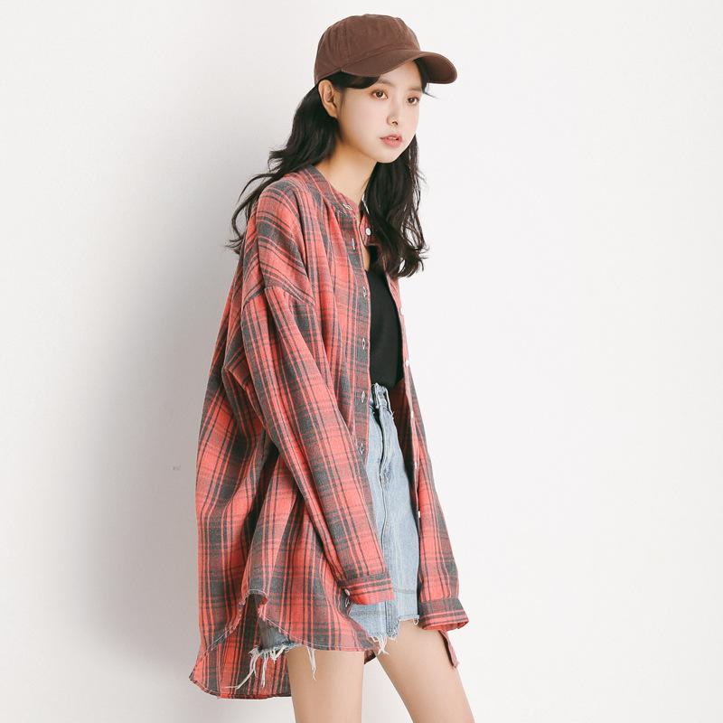 EAL Áo sơ mi [Nan Tao] Mùa xuân 2019 của phụ nữ Hàn Quốc gió giản dị áo sơ mi dài tay kẻ sọc lỏng lẻ