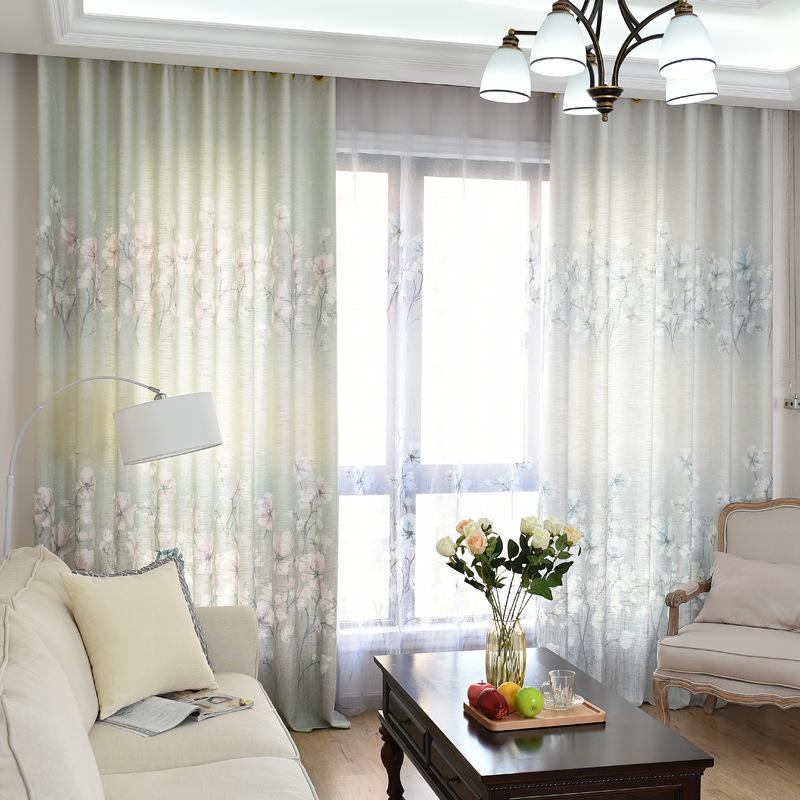 LUOSANG Vải rèm cửa Nhà máy trực tiếp vải lanh vải bóng vải in rèm vải cổ điển mực in rèm cửa sổ màn