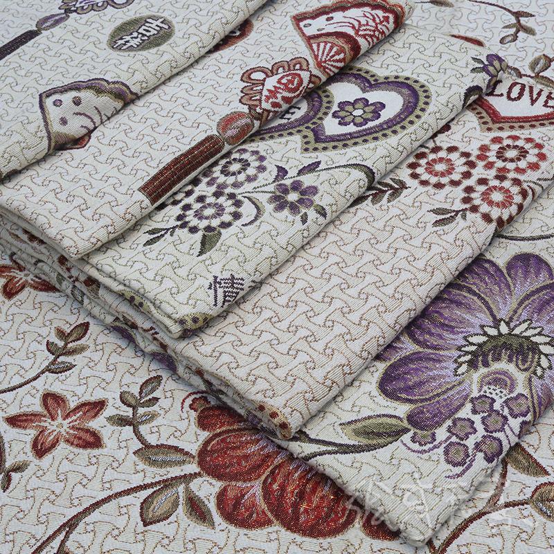 YOULING Vải Yarn dyed / Vải thun có hoa văn Ba sợi vàng vải polyester vải lanh dệt jacquard sofa vải
