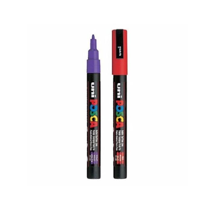 Bút nước bút vẽ posca 0.9-1.3mm xanh,đen,đỏ,cam,tím,trắng...xuất xứ nhật bản