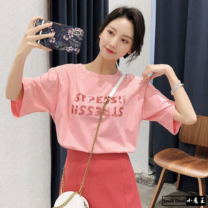 Áo thun Hàn Quốc 2019 hè mới phiên bản Hàn Quốc áo thun cotton rộng màu hồng nữ đính sequin chữ ngắn