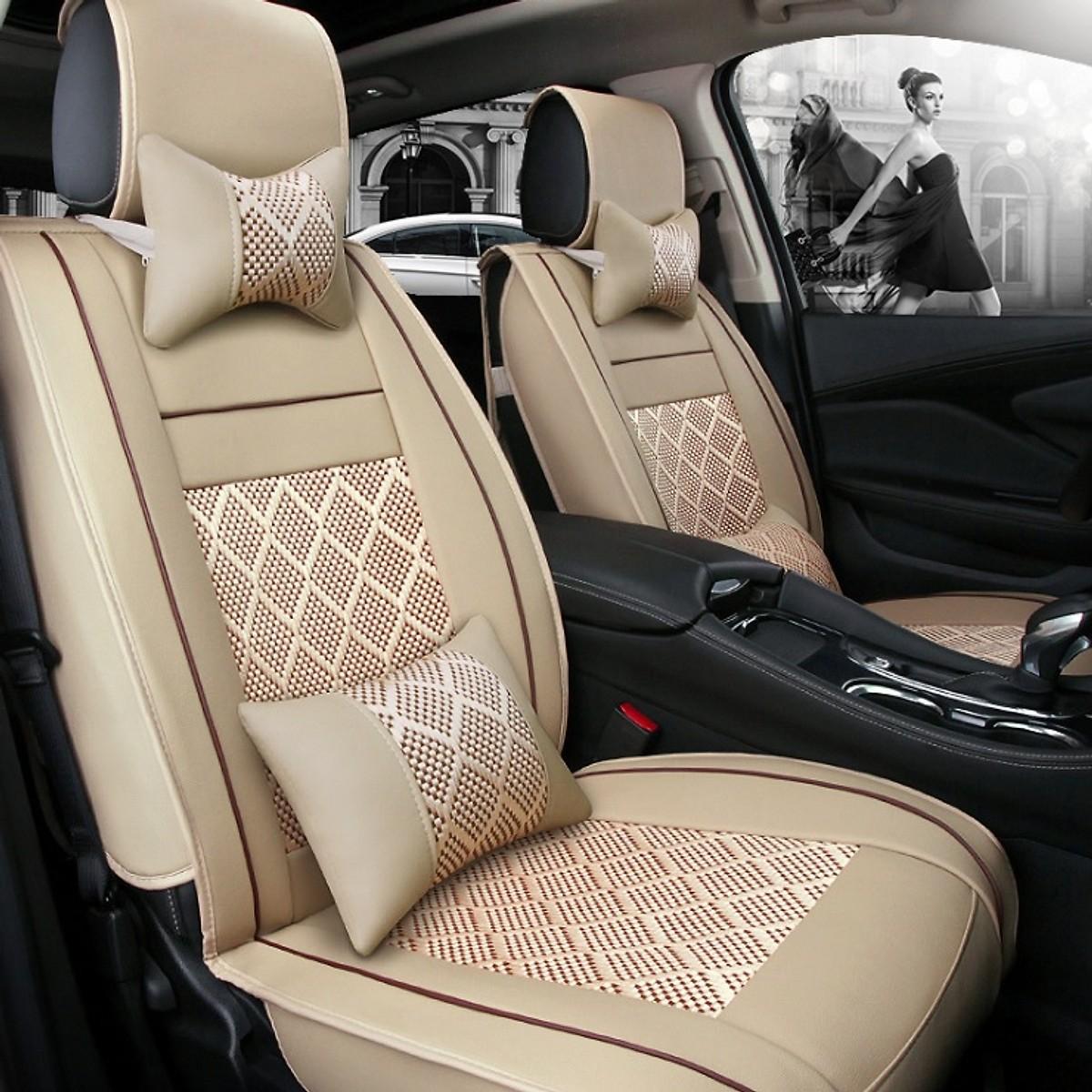 Bộ áo ghế DA ô tô bản CAO CẤP cho 5 chỗ ngồi A59 - Gồm 2 gối tựa LƯNG + 2 gối tựa ĐẦU ghế xe hơi đẳn