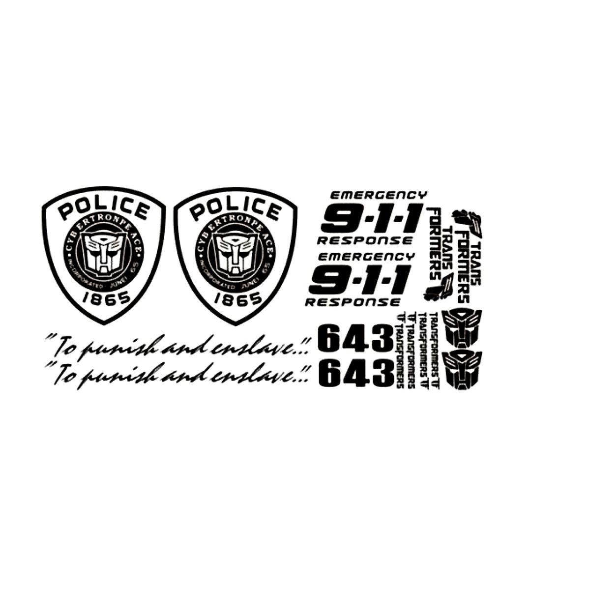 Tem đề can sườn xe Police_911