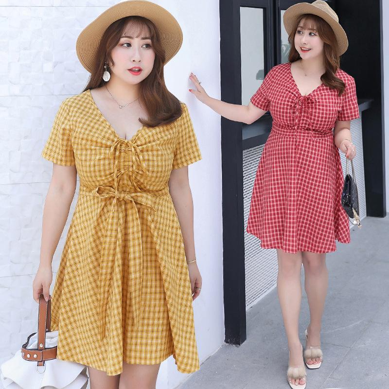 Thời trang Mùa hè 2019 mới MM chất béo cộng với phân bón XL phiên bản Hàn Quốc của đầm kẻ sọc mỏng