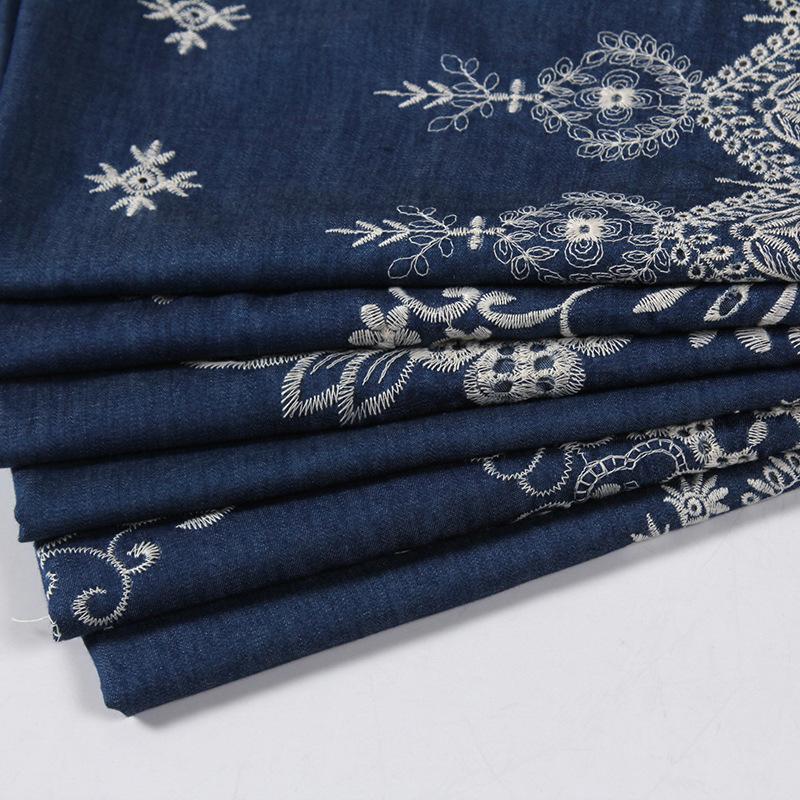 Vải thêu Cotton thêu vải denim Bán nóng váy vải Vải thêu ren denim