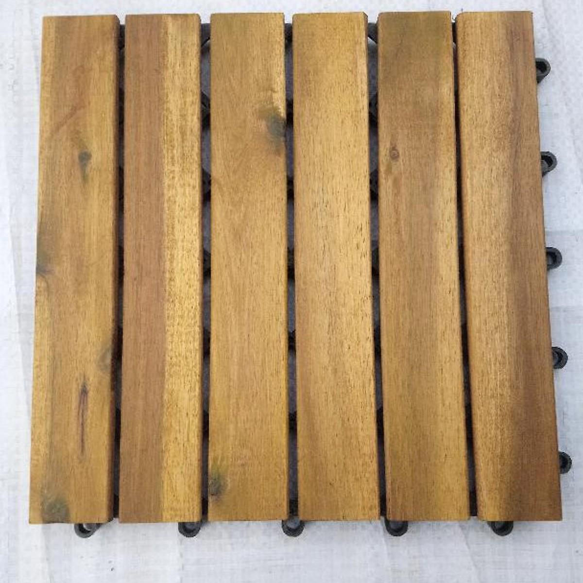 Tấm ván gỗ lót sàn 6 nan - nâu vàng