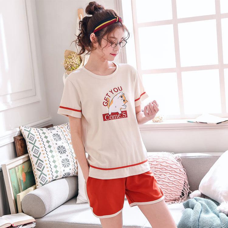 NAXINYUAN Đồ ngủ ngắn tay nữ mùa hè cotton Hàn Quốc dễ thương quần lửng mỏng mùa thu hè dịch vụ tại